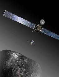Impressão artística do momento em que a sonda Rosetta lança o aterrissador Philae na direção do cometa P67. Crédito: ESA–C. Carreau/ATG medialab